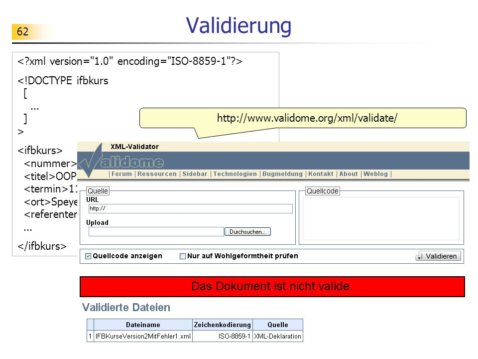 Validierung < xml version= 1.0 encoding= ISO-8859-1 >