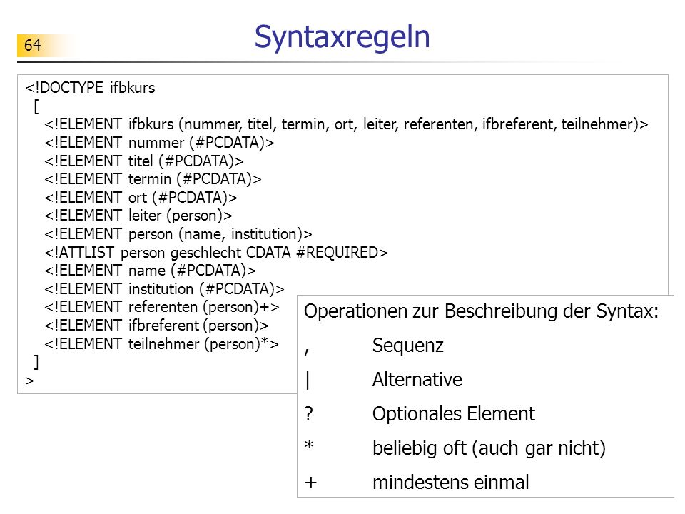 Syntaxregeln Operationen zur Beschreibung der Syntax: , Sequenz