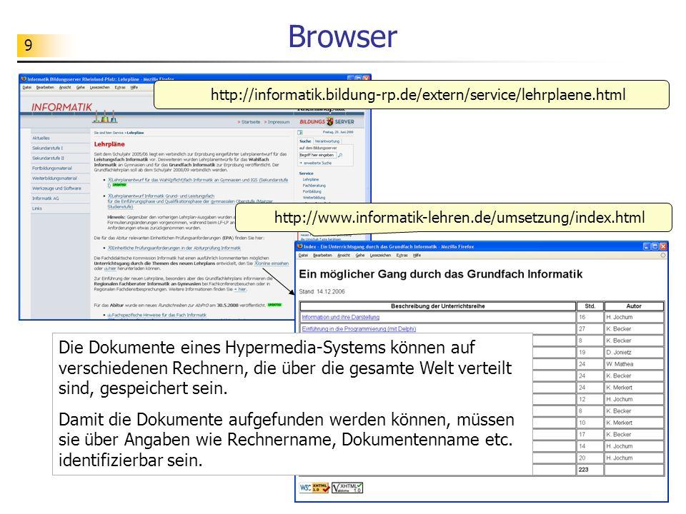 Browser http://informatik.bildung-rp.de/extern/service/lehrplaene.html. http://www.informatik-lehren.de/umsetzung/index.html.