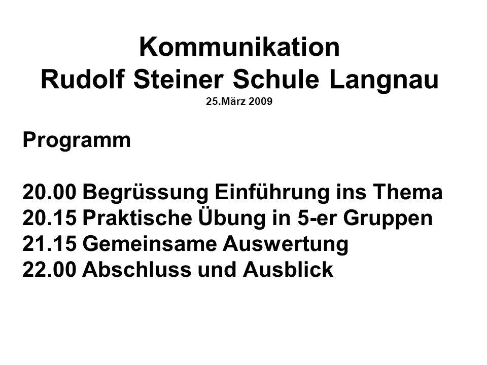 Kommunikation Rudolf Steiner Schule Langnau 25.März 2009