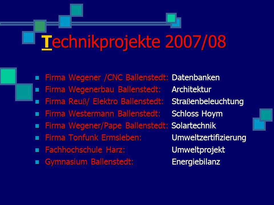 Technikprojekte 2007/08 Firma Wegener /CNC Ballenstedt: Datenbanken