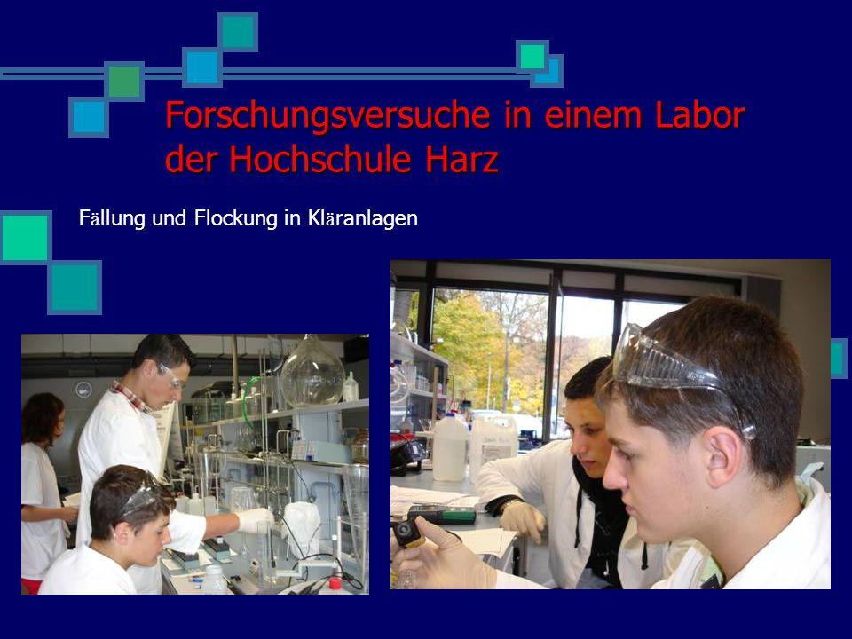 Forschungsversuche in einem Labor der Hochschule Harz
