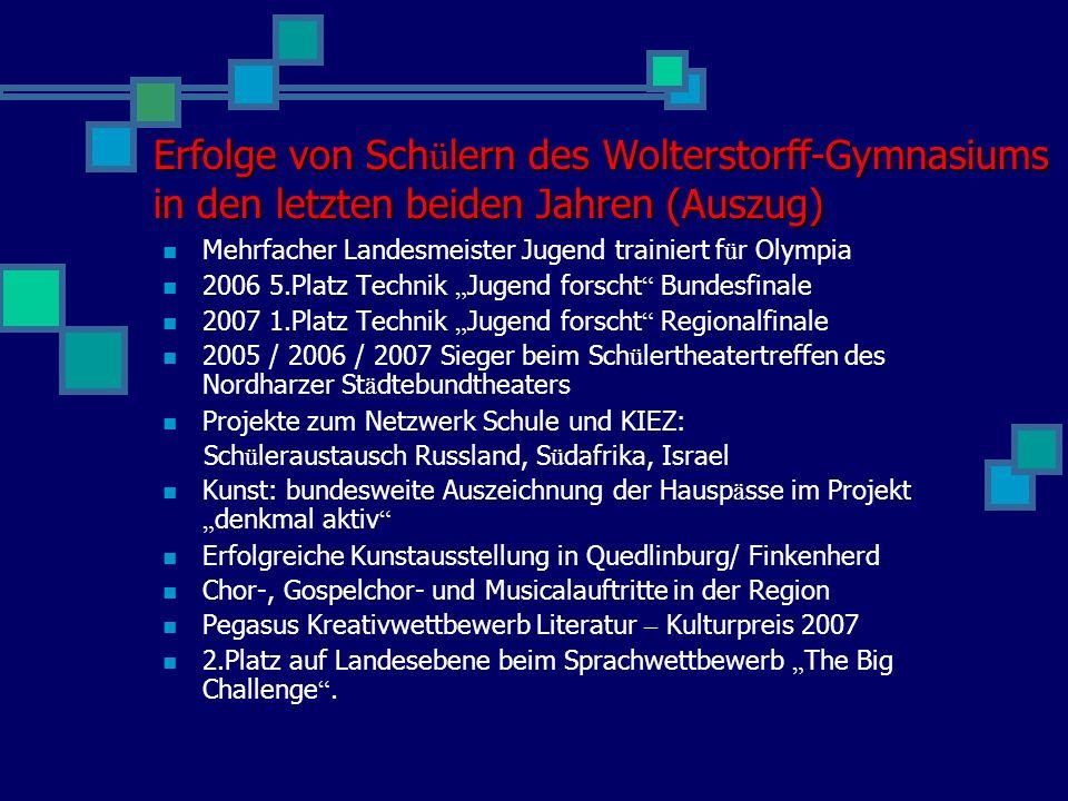 Erfolge von Schülern des Wolterstorff-Gymnasiums in den letzten beiden Jahren (Auszug)