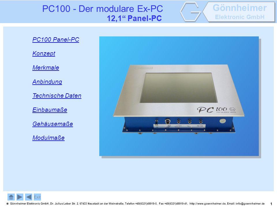 PC100 - Der modulare Ex-PC 12,1 Panel-PC PC100 Panel-PC Konzept