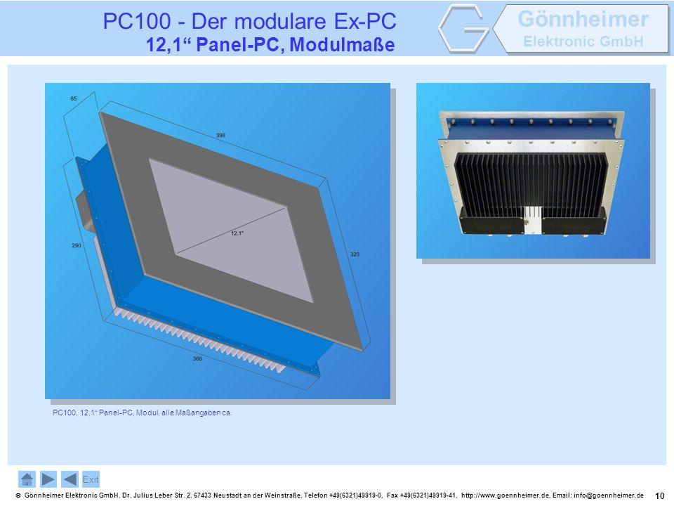 PC100 - Der modulare Ex-PC 12,1 Panel-PC, Modulmaße Exit