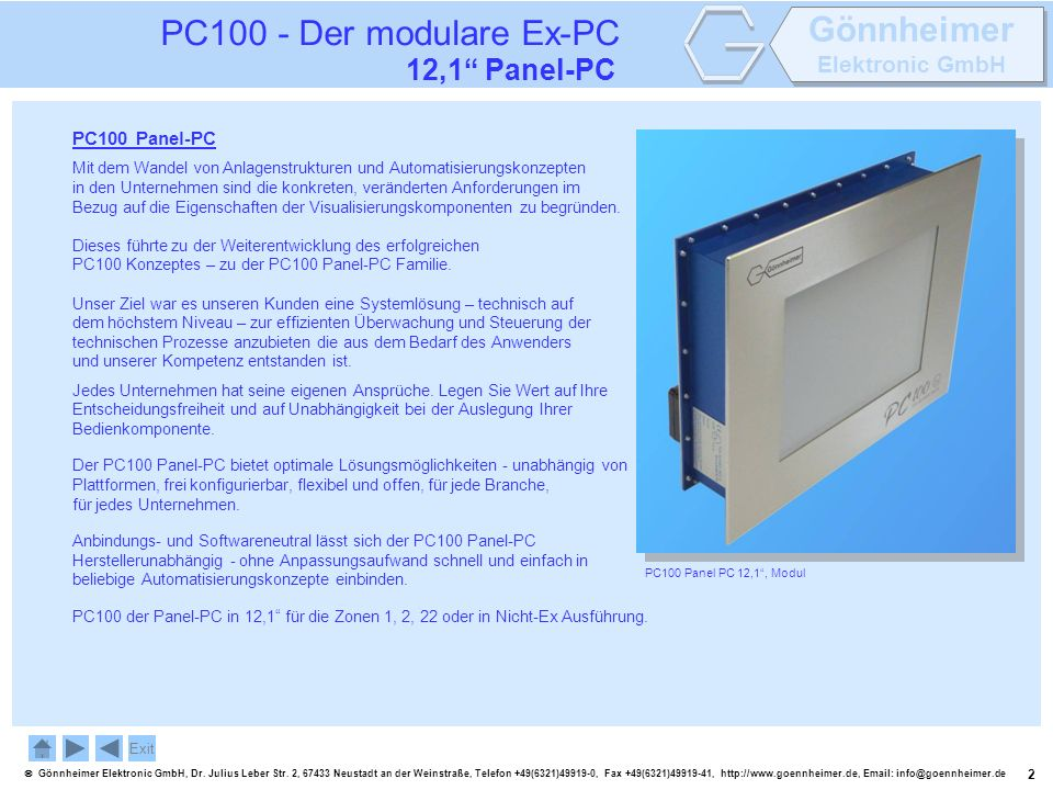 PC100 - Der modulare Ex-PC 12,1 Panel-PC PC100 Panel-PC