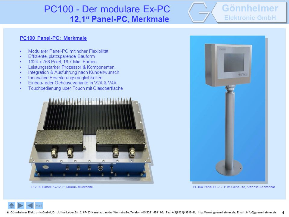 PC100 - Der modulare Ex-PC 12,1 Panel-PC, Merkmale