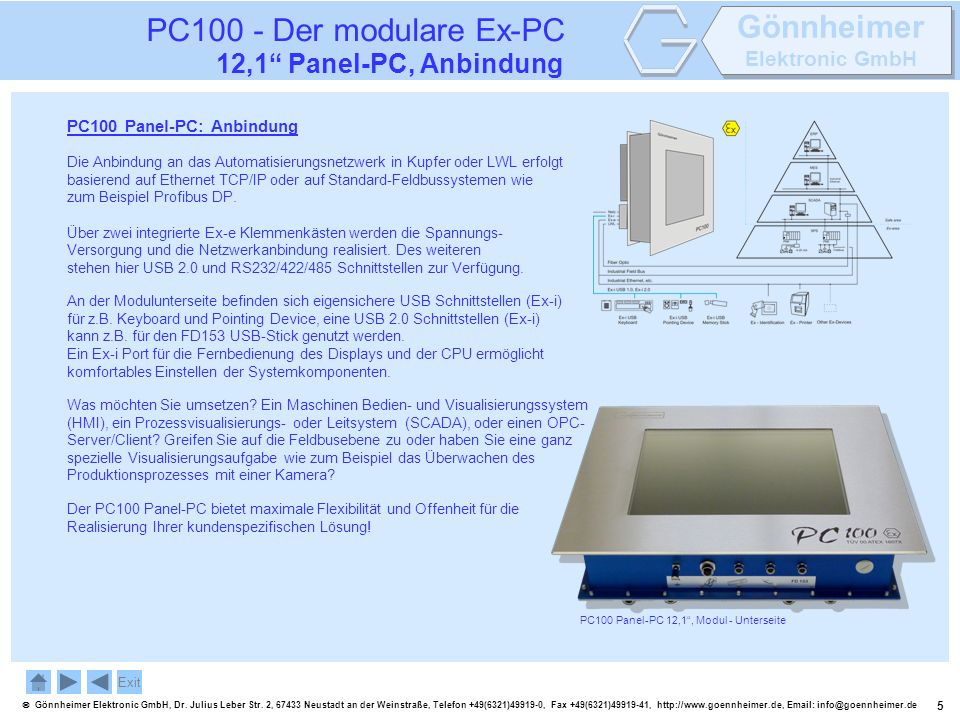 PC100 - Der modulare Ex-PC 12,1 Panel-PC, Anbindung