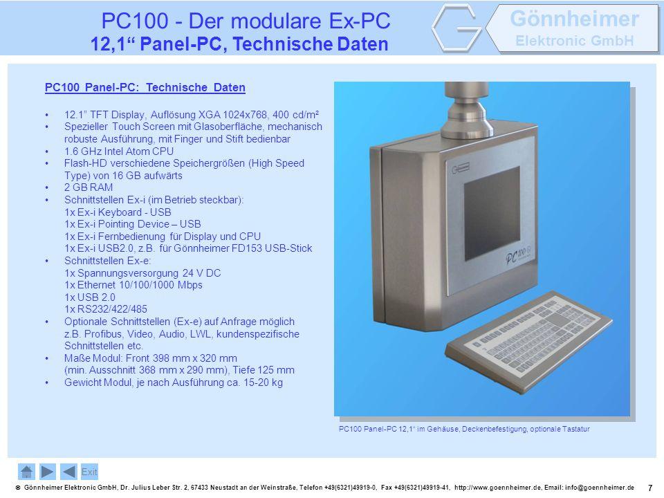 PC100 - Der modulare Ex-PC 12,1 Panel-PC, Technische Daten