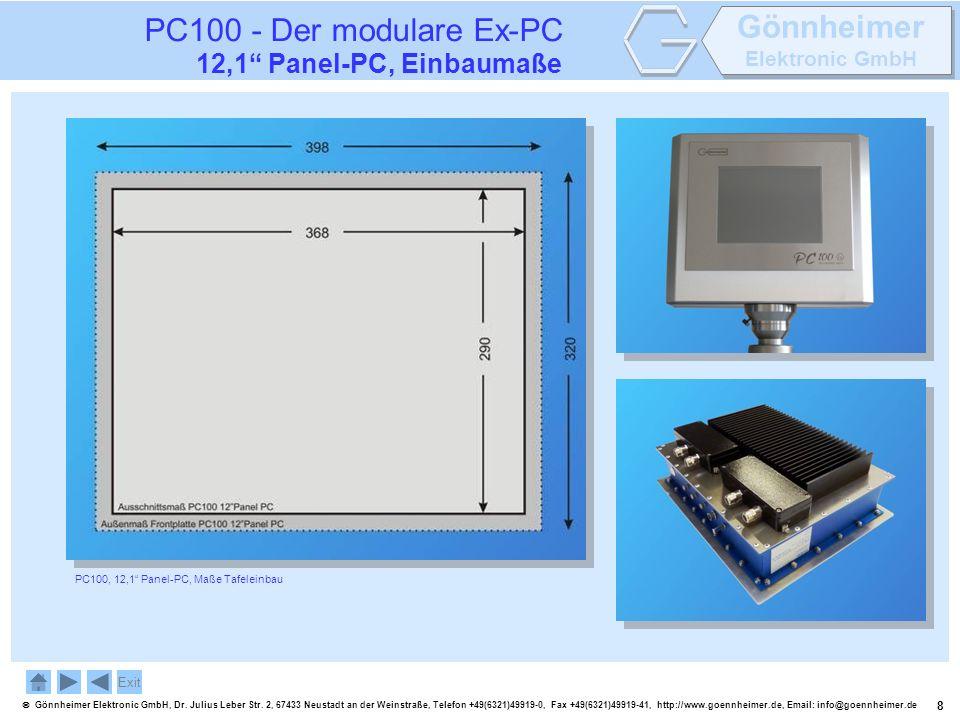 PC100 - Der modulare Ex-PC 12,1 Panel-PC, Einbaumaße Exit