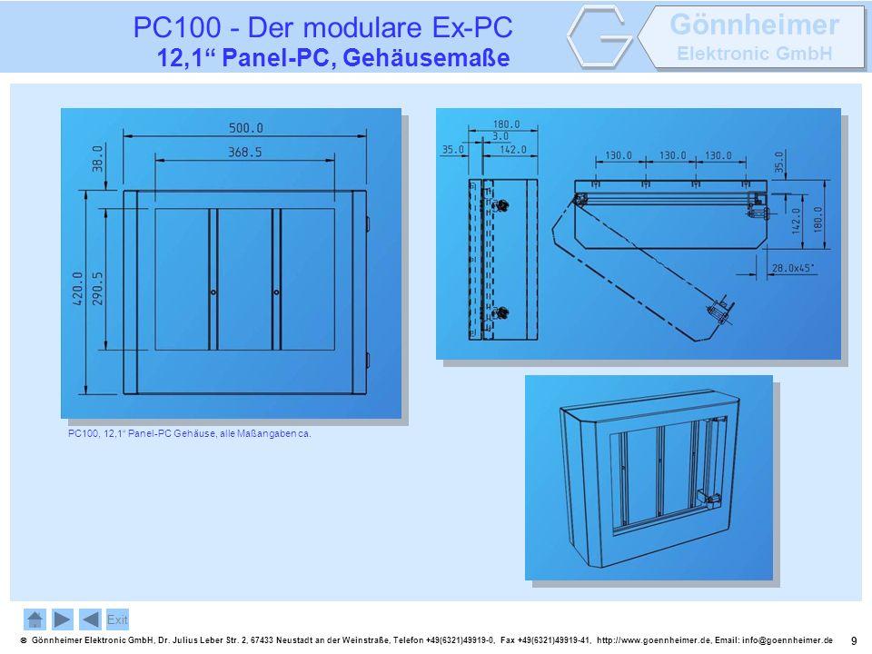 PC100 - Der modulare Ex-PC 12,1 Panel-PC, Gehäusemaße