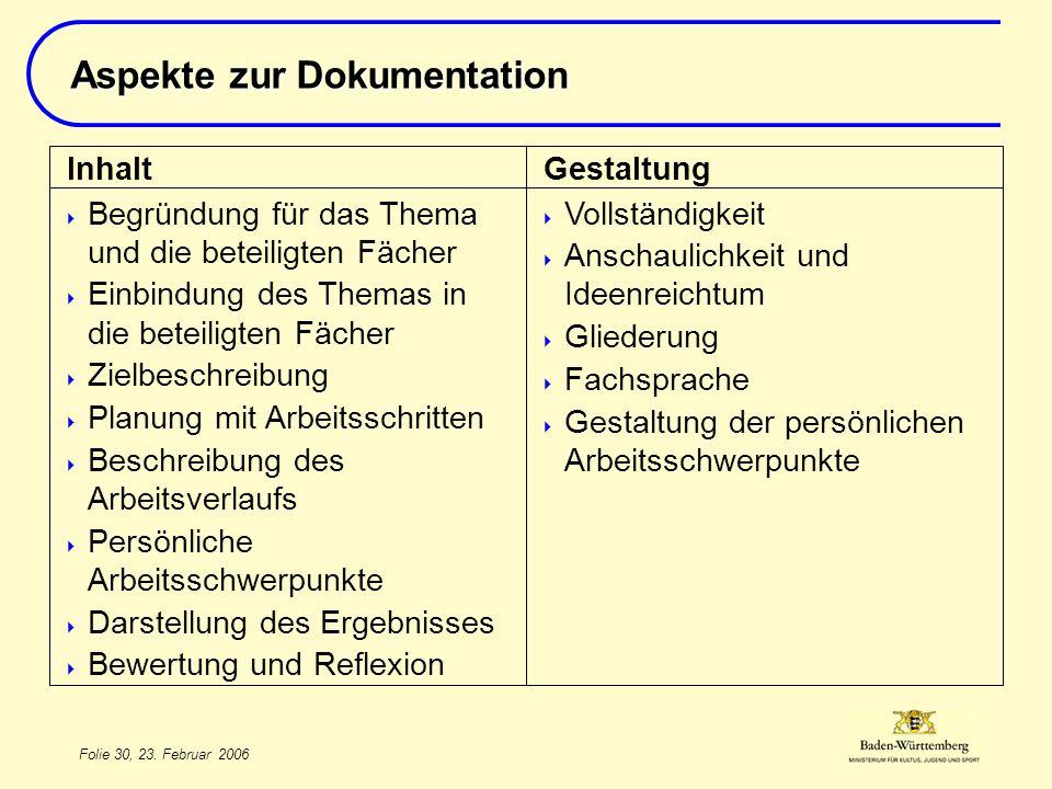 Aspekte zur Dokumentation