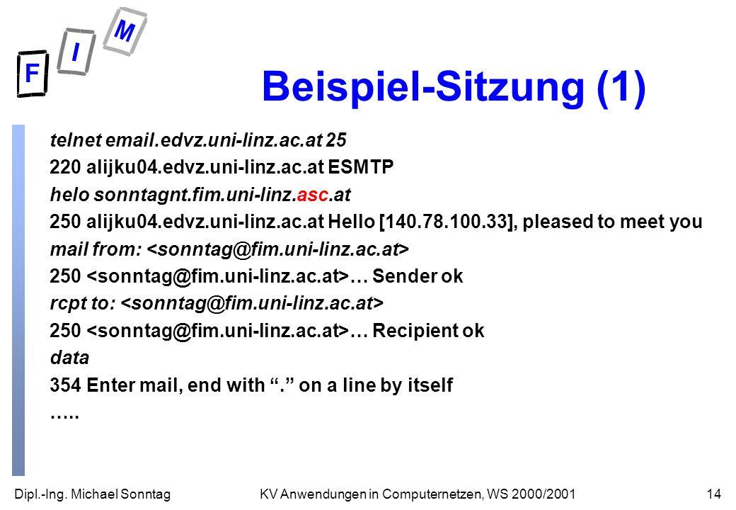 Beispiel-Sitzung (1) telnet email.edvz.uni-linz.ac.at 25