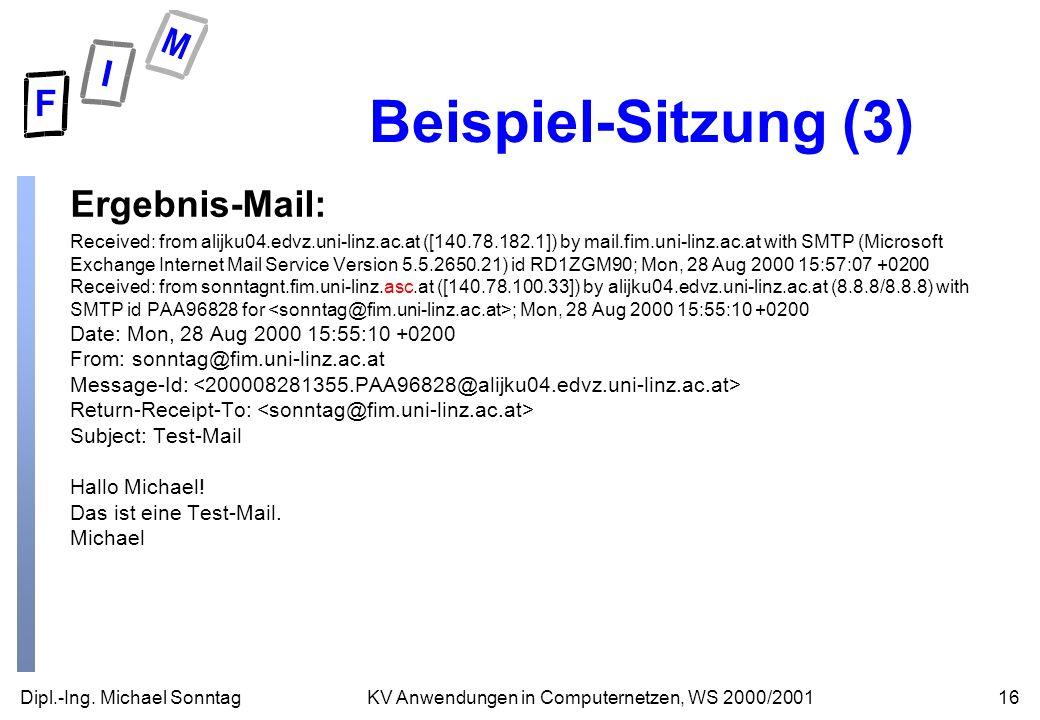 Beispiel-Sitzung (3) Ergebnis-Mail: