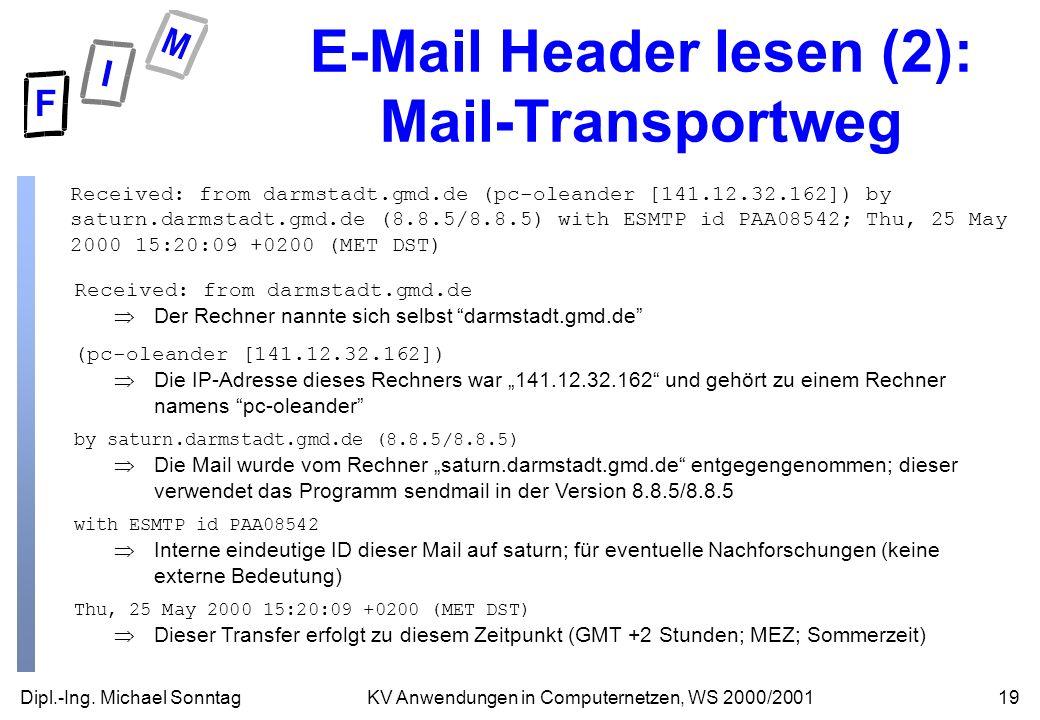 E-Mail Header lesen (2): Mail-Transportweg