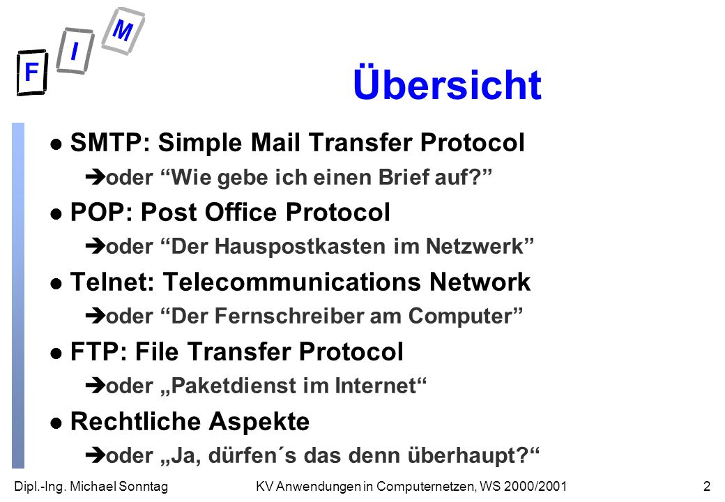 Übersicht SMTP: Simple Mail Transfer Protocol