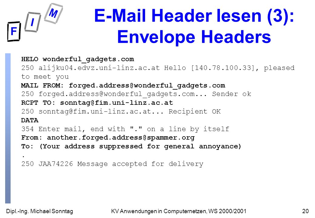 E-Mail Header lesen (3): Envelope Headers