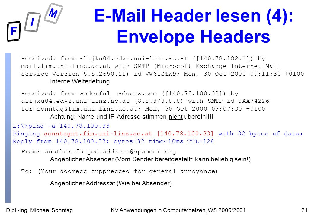 E-Mail Header lesen (4): Envelope Headers