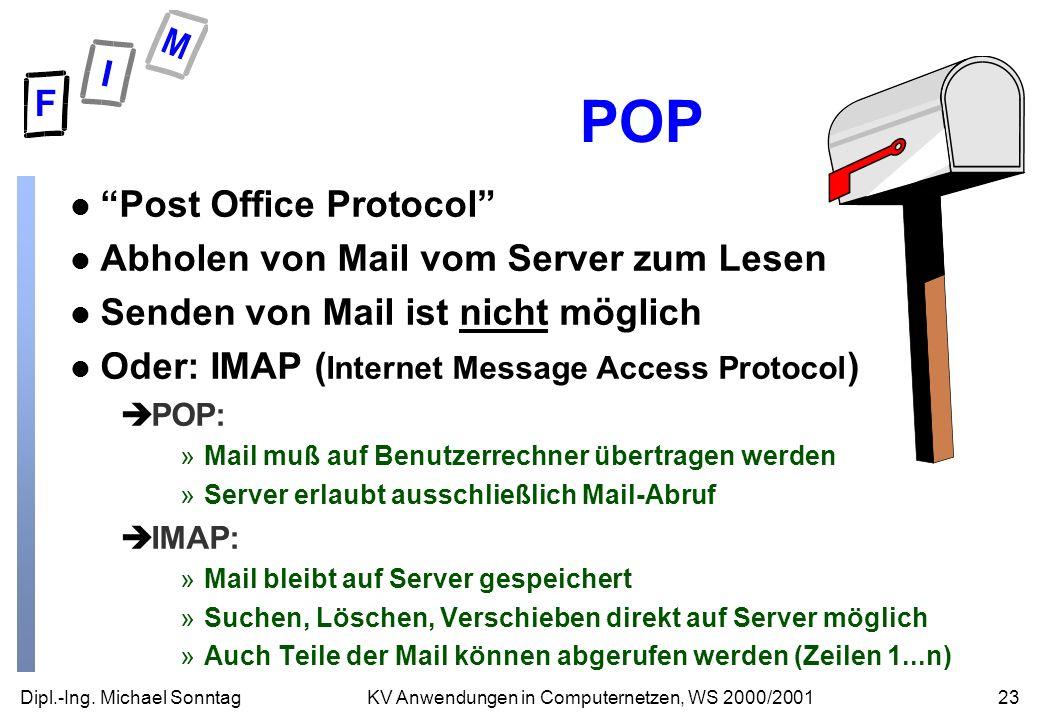 POP Post Office Protocol Abholen von Mail vom Server zum Lesen