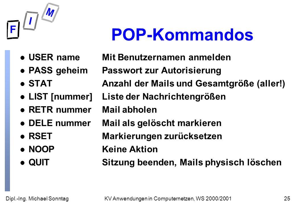 POP-Kommandos USER name Mit Benutzernamen anmelden
