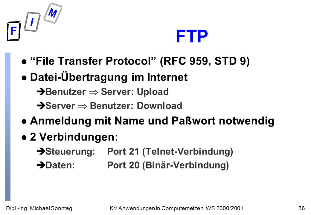 FTP File Transfer Protocol (RFC 959, STD 9)