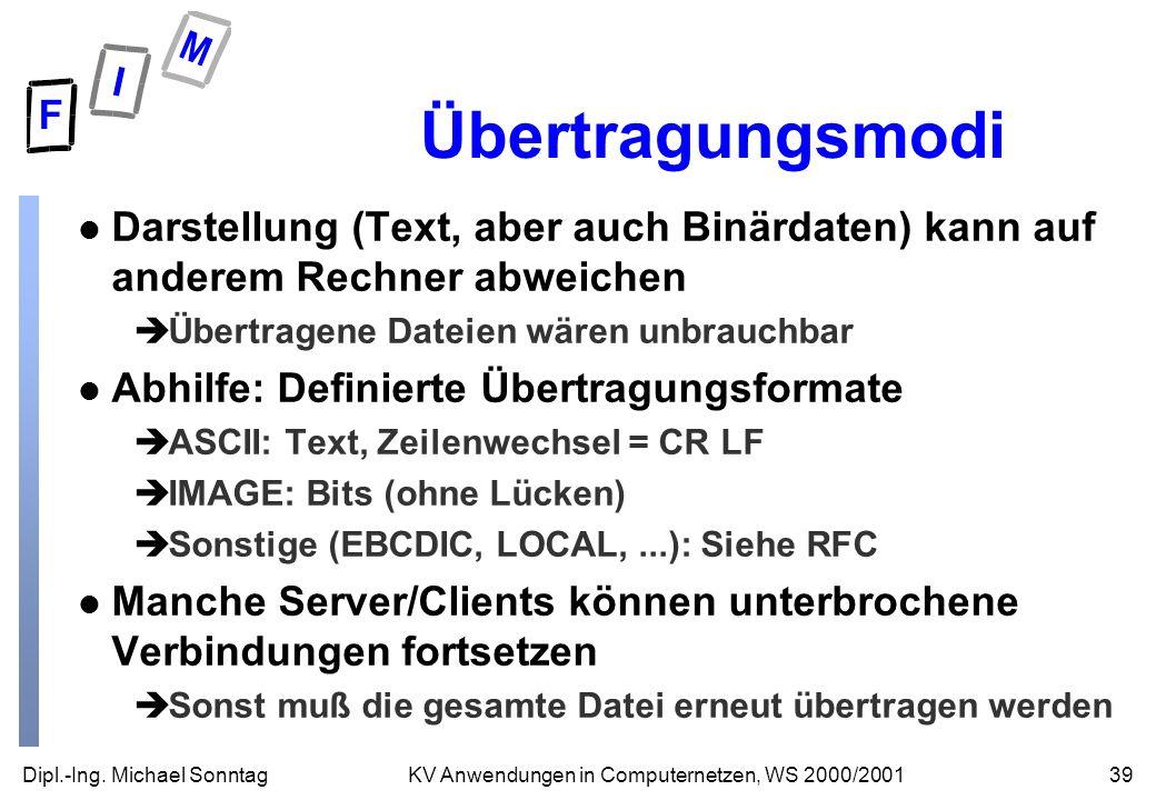 Übertragungsmodi Darstellung (Text, aber auch Binärdaten) kann auf anderem Rechner abweichen. Übertragene Dateien wären unbrauchbar.