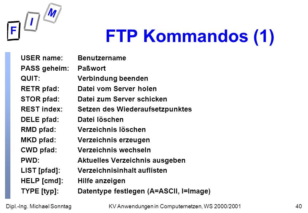 FTP Kommandos (1) USER name: Benutzername PASS geheim: Paßwort