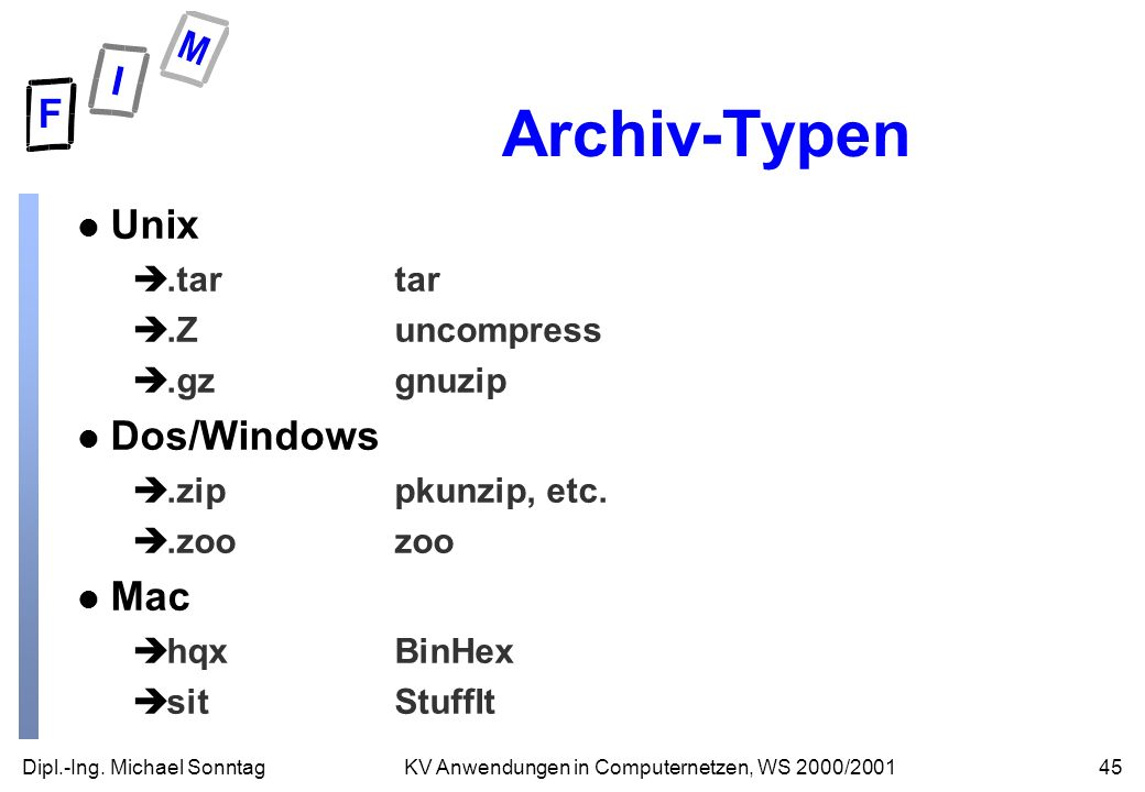 Archiv-Typen Unix Dos/Windows Mac .tar tar .Z uncompress .gz gnuzip