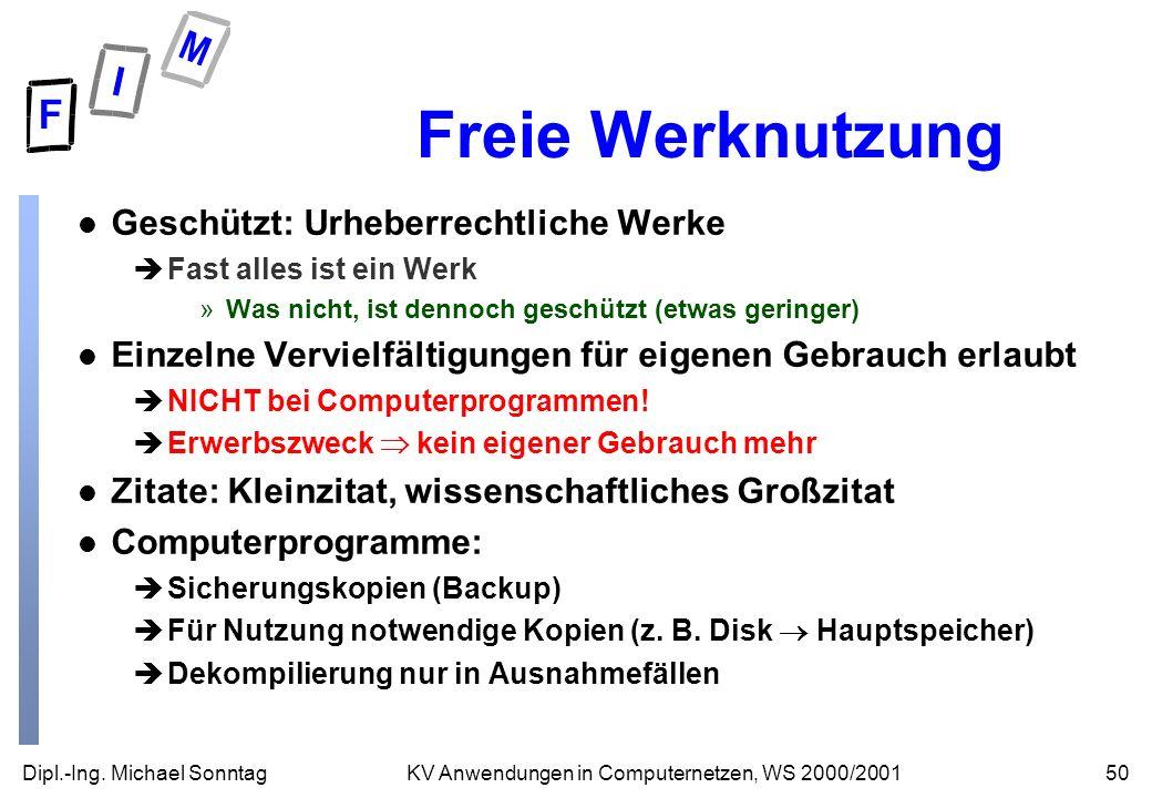Freie Werknutzung Geschützt: Urheberrechtliche Werke