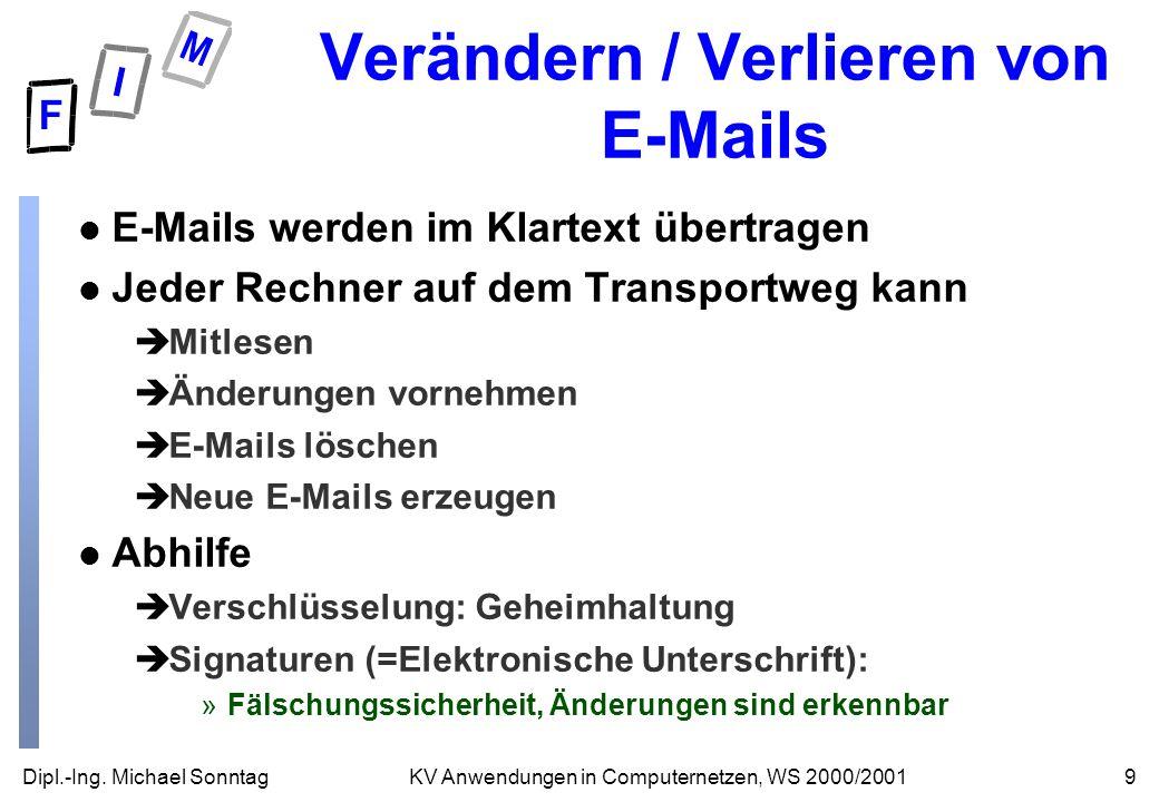 Verändern / Verlieren von E-Mails