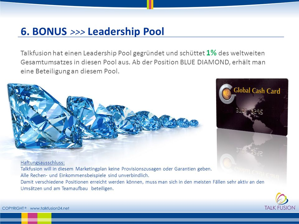 6. BONUS >>> Leadership Pool