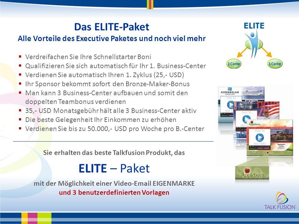 Das ELITE-Paket Alle Vorteile des Executive Paketes und noch viel mehr