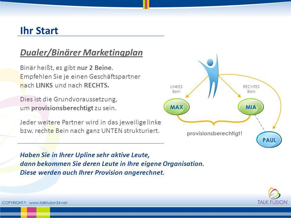 Ihr Start Dualer/Binärer Marketingplan
