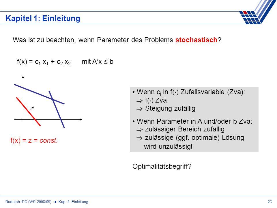 Kapitel 1: Einleitung Was ist zu beachten, wenn Parameter des Problems stochastisch f(x) = c1 x1 + c2 x2 mit A'x ≤ b.