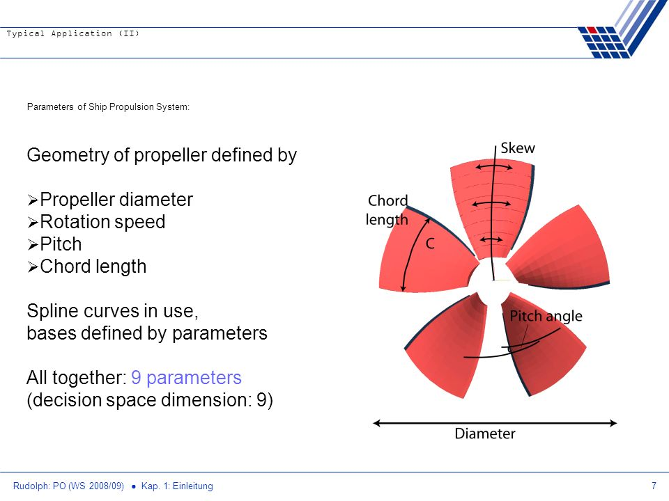 Geometry of propeller defined by Propeller diameter Rotation speed