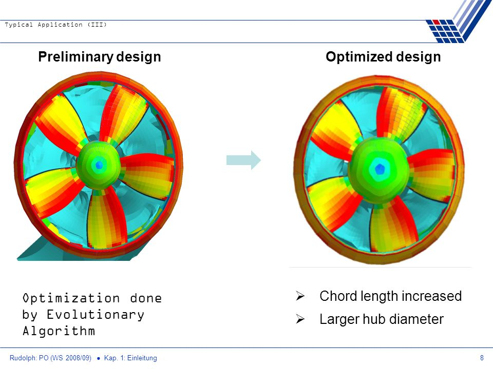 Chord length increased Larger hub diameter Optimized design