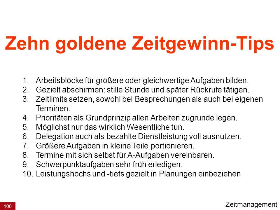 Zehn goldene Zeitgewinn-Tips