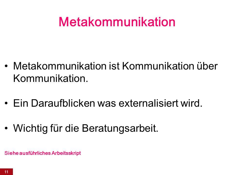 Metakommunikation Metakommunikation ist Kommunikation über Kommunikation. Ein Daraufblicken was externalisiert wird.