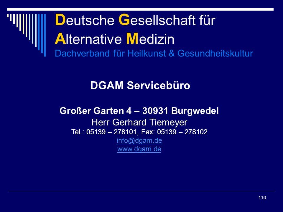 Deutsche Gesellschaft für Alternative Medizin Dachverband für Heilkunst & Gesundheitskultur