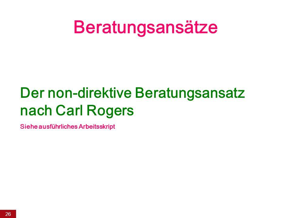 Beratungsansätze Der non-direktive Beratungsansatz nach Carl Rogers