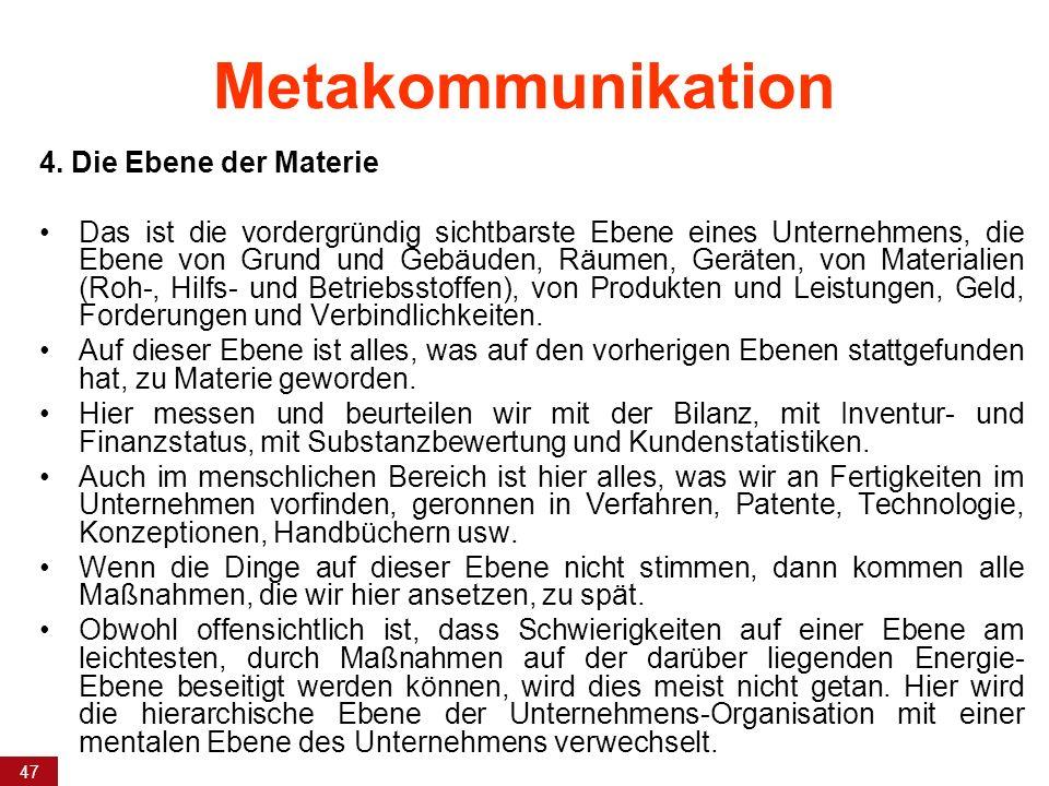 Metakommunikation 4. Die Ebene der Materie
