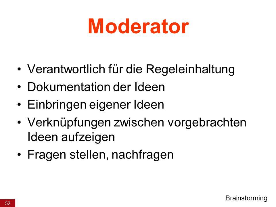 Moderator Verantwortlich für die Regeleinhaltung