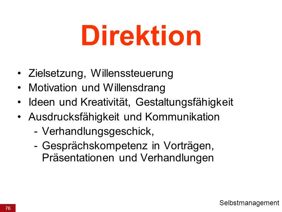 Direktion Zielsetzung, Willenssteuerung Motivation und Willensdrang