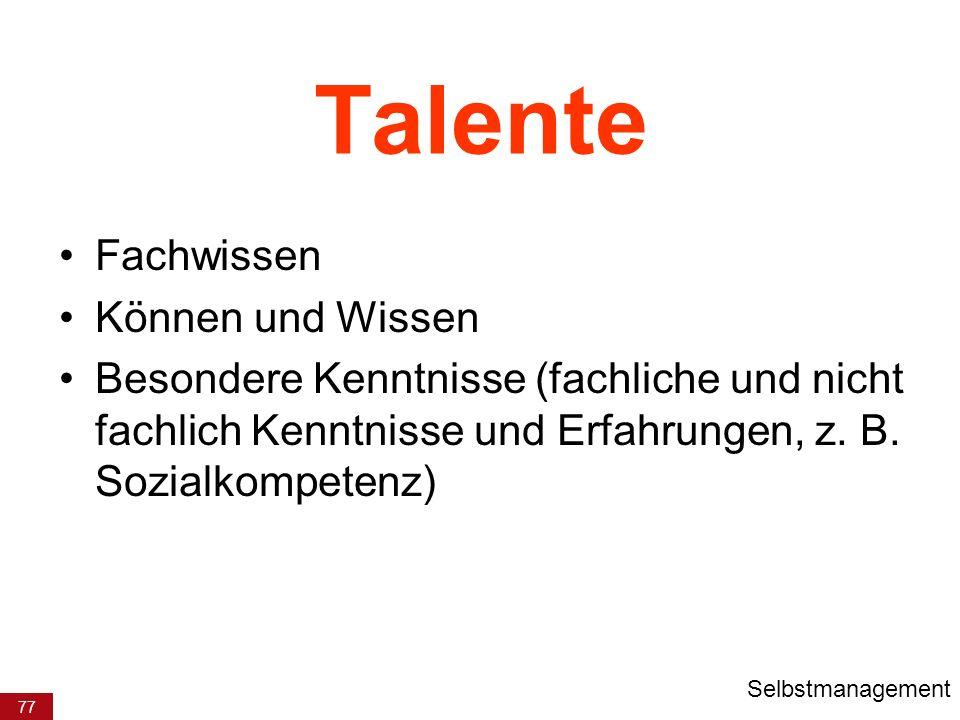 Talente Fachwissen Können und Wissen