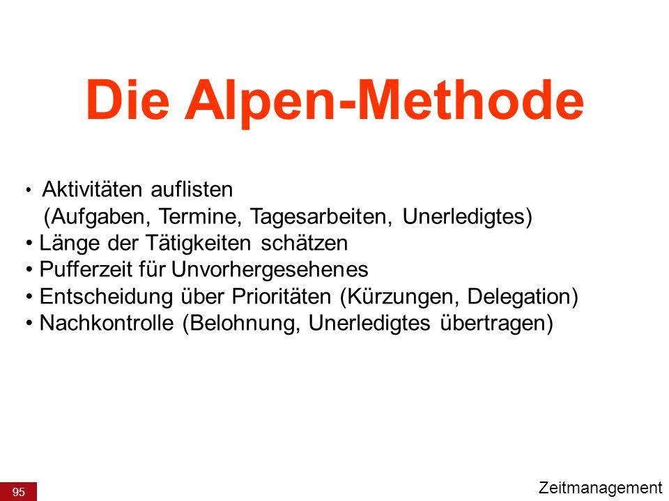 Die Alpen-Methode Länge der Tätigkeiten schätzen