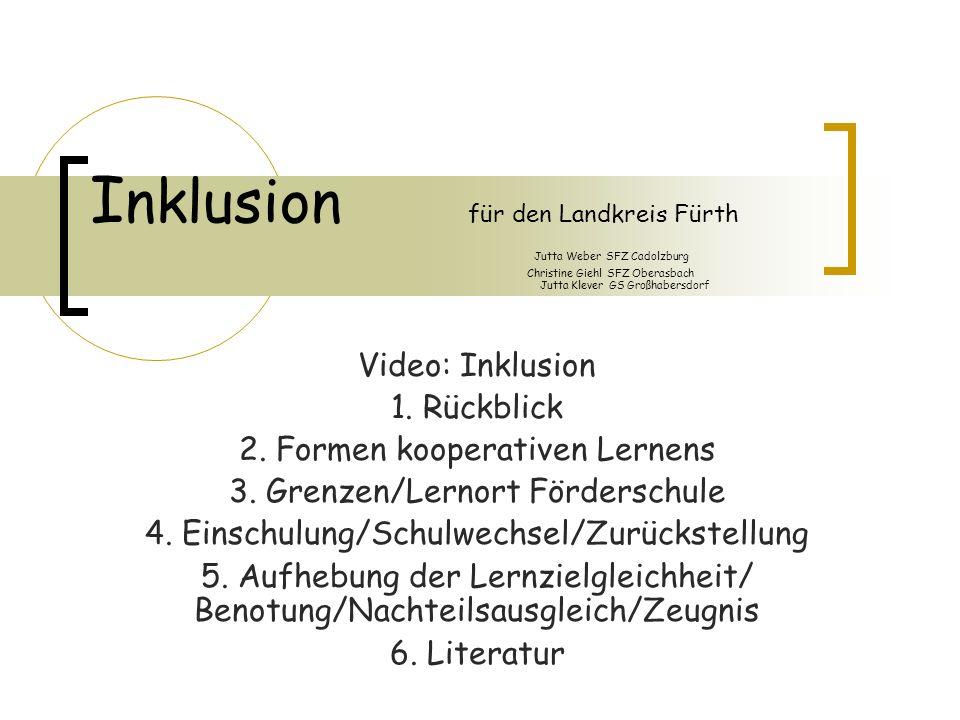 Inklusion für den Landkreis Fürth Jutta Weber SFZ Cadolzburg Christine Giehl SFZ Oberasbach Jutta Klever GS Großhabersdorf