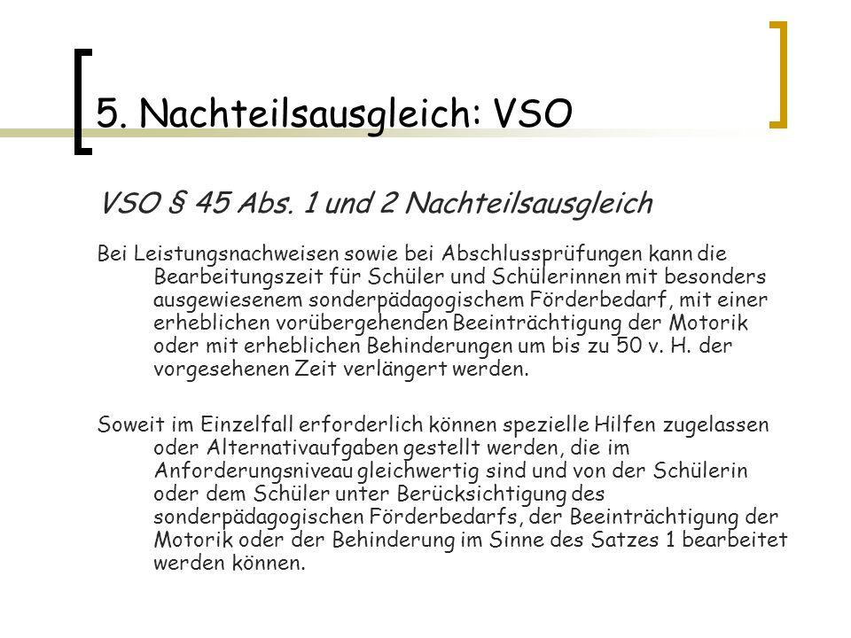 5. Nachteilsausgleich: VSO