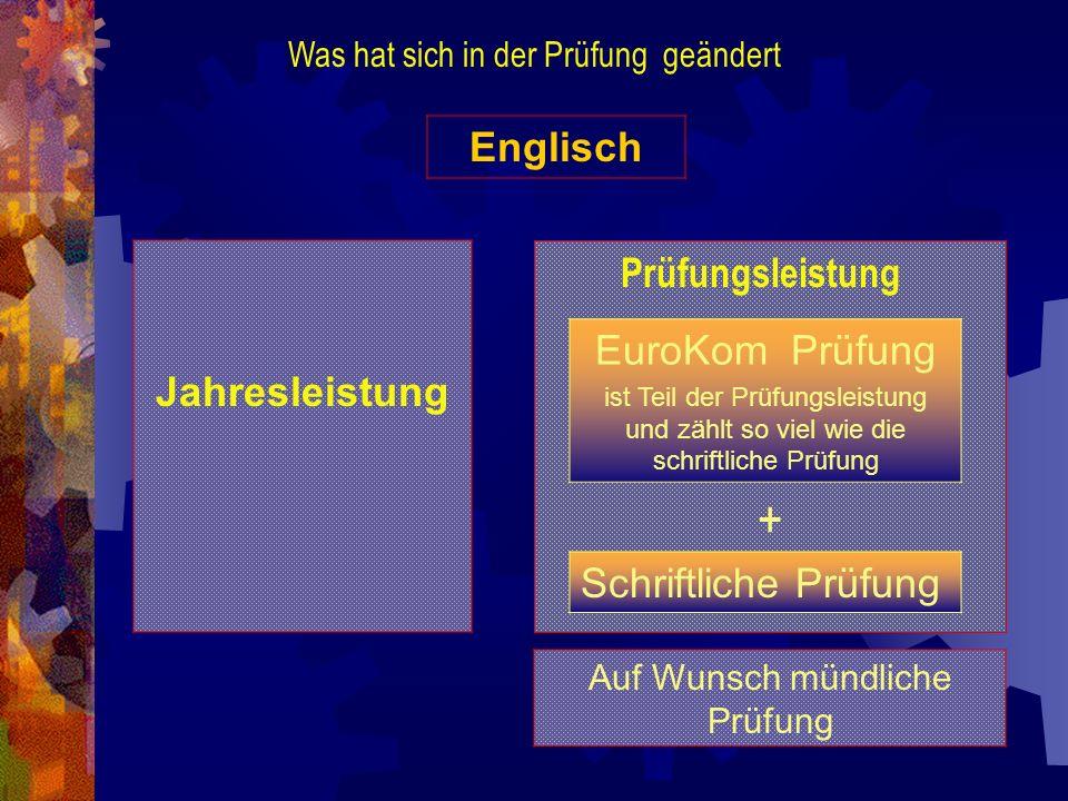 + Englisch EuroKom Prüfung Jahresleistung Prüfungsleistung