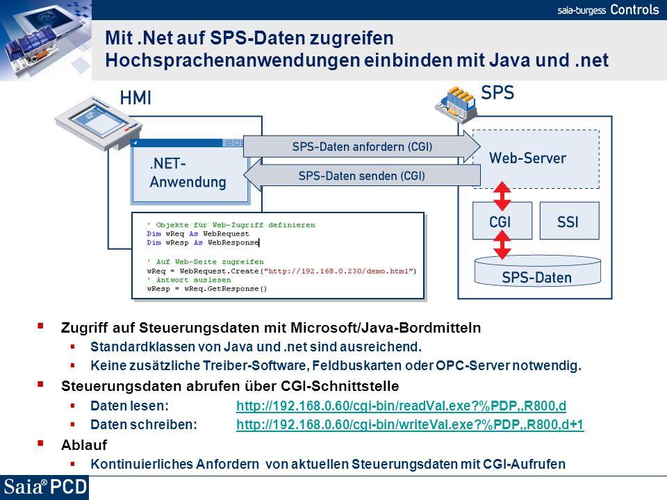 Mit .Net auf SPS-Daten zugreifen Hochsprachenanwendungen einbinden mit Java und .net