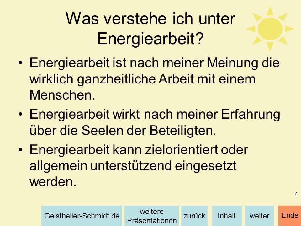 Was verstehe ich unter Energiearbeit